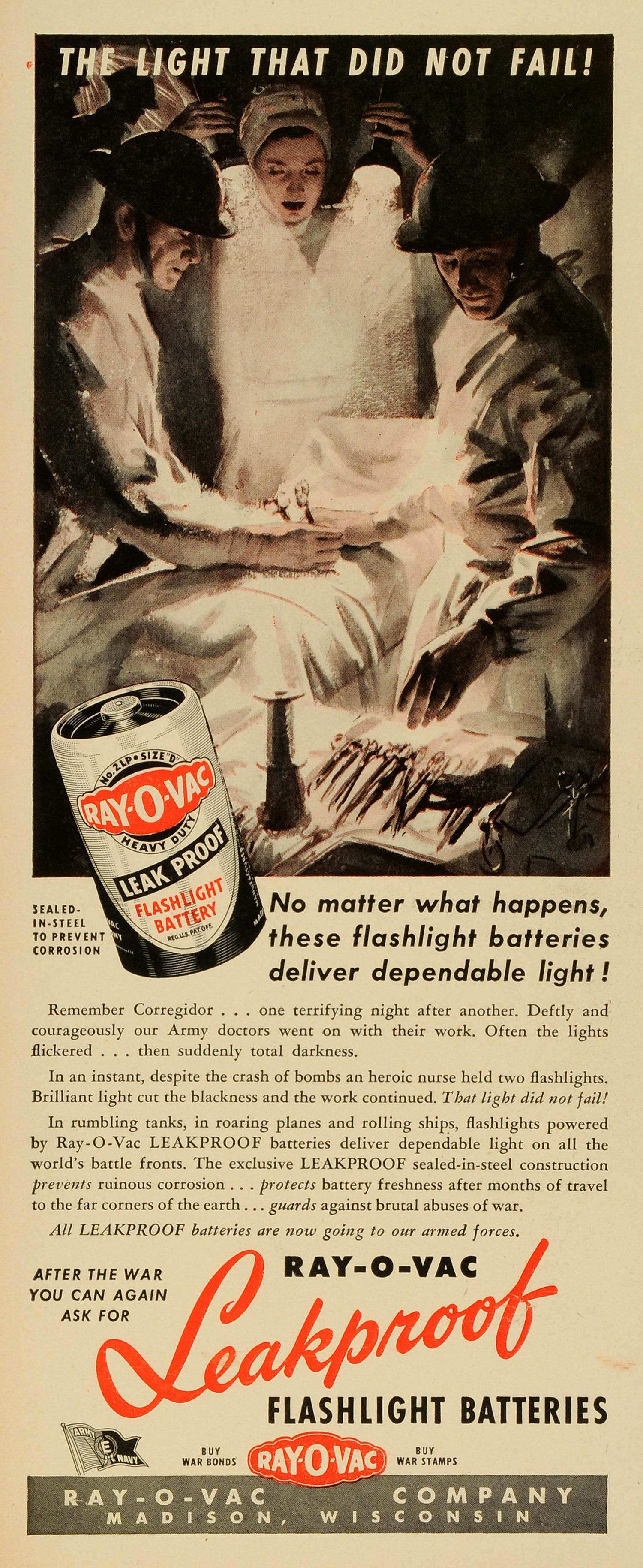 1943 Ad Ray-O-Vac Flashlight Battery World War II Doctor Surgery Wounded LF5