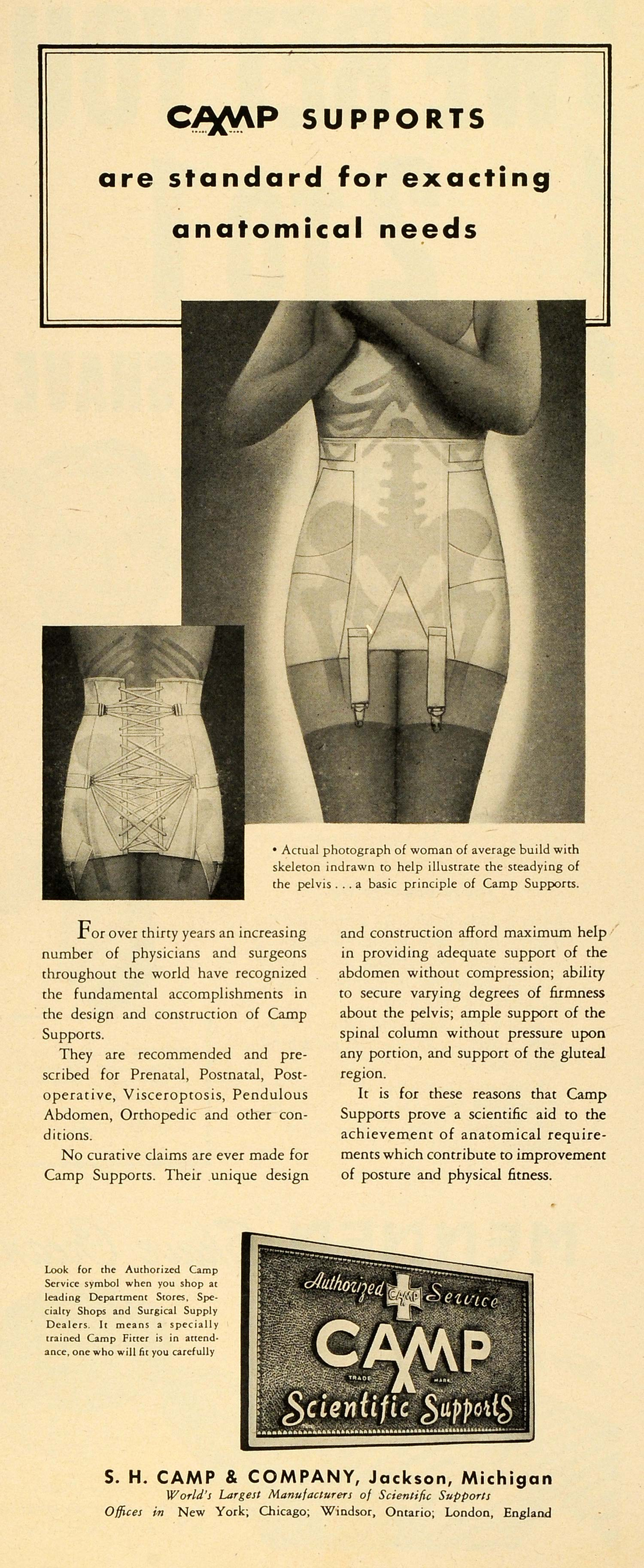 1945 Ad S. H. Camp Scientific Supports Women Undergarment Corset Garter LF5