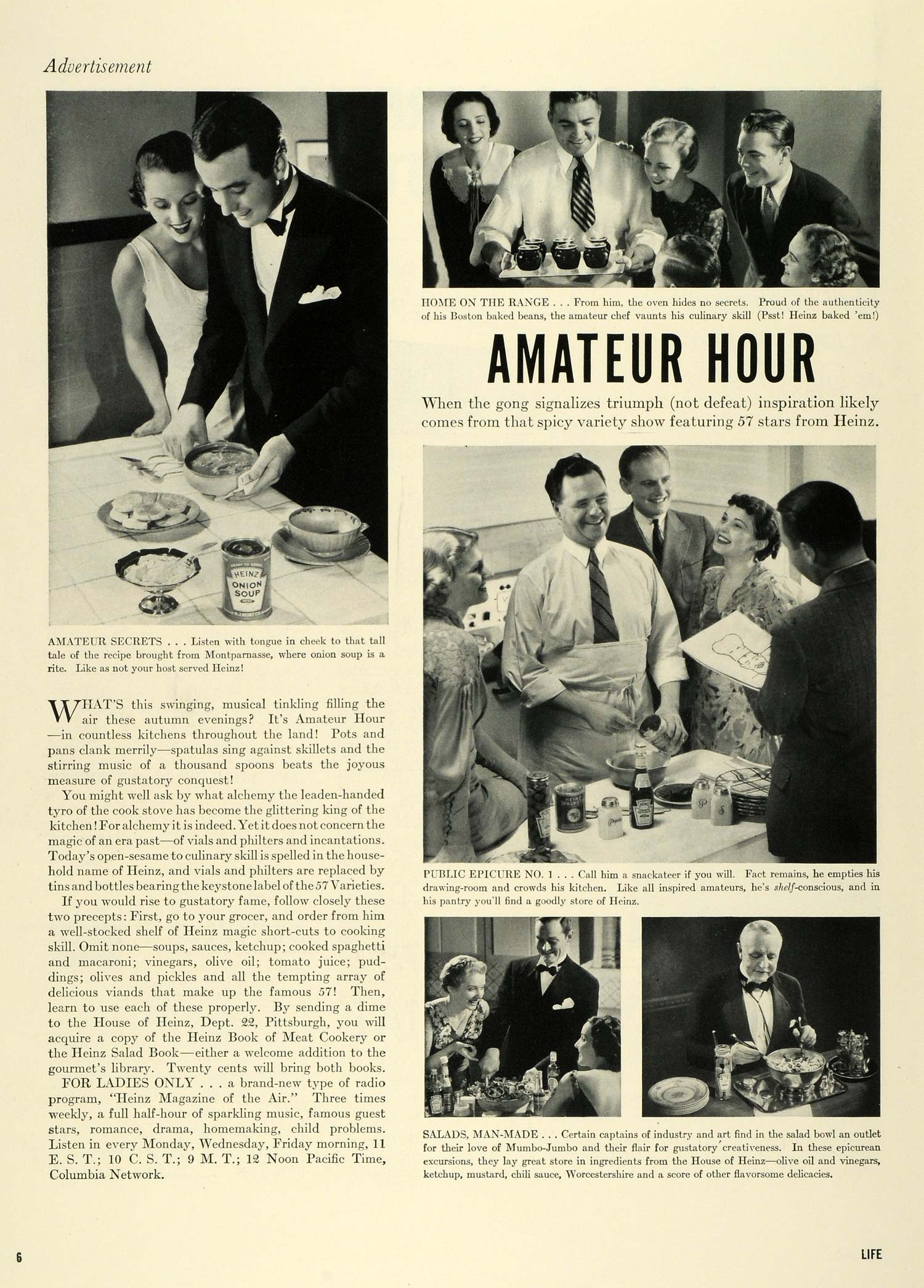 1936 Ad Heinz 57 Condiments Culinary Cooking Amateur Hour Radio Variety Show LF5