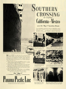 1936 Ad Panama Pacific Cruise Line California Mexico Sunshine Route SS LF5
