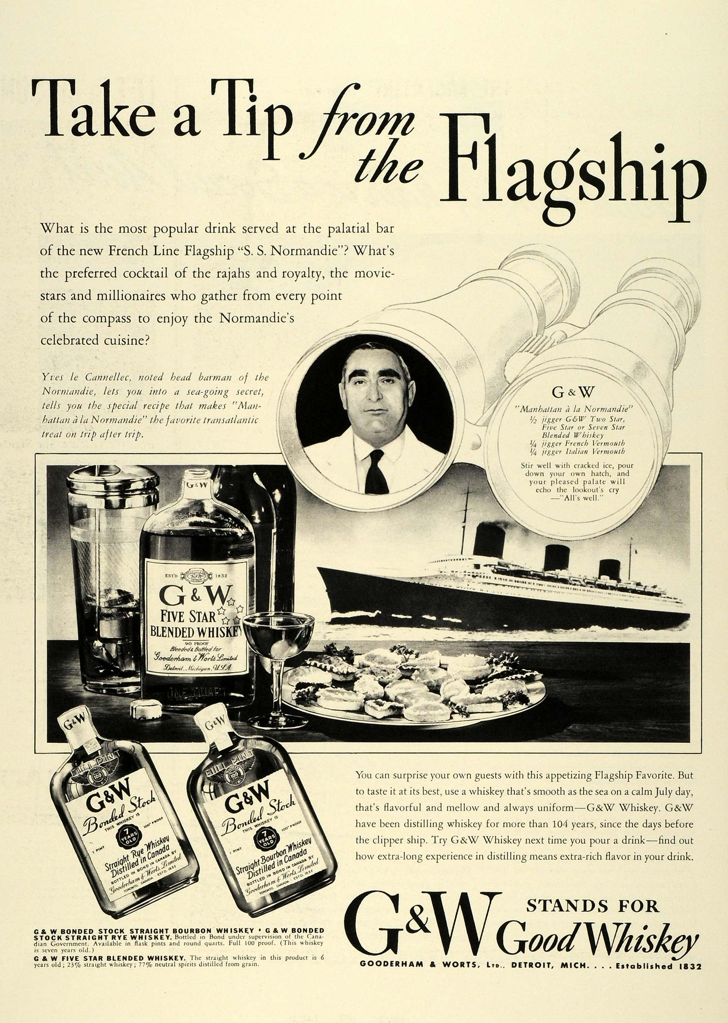 1936 Ad Gooderham Worts Whiskey SS Normandie French Line Flagship Liquor LF5