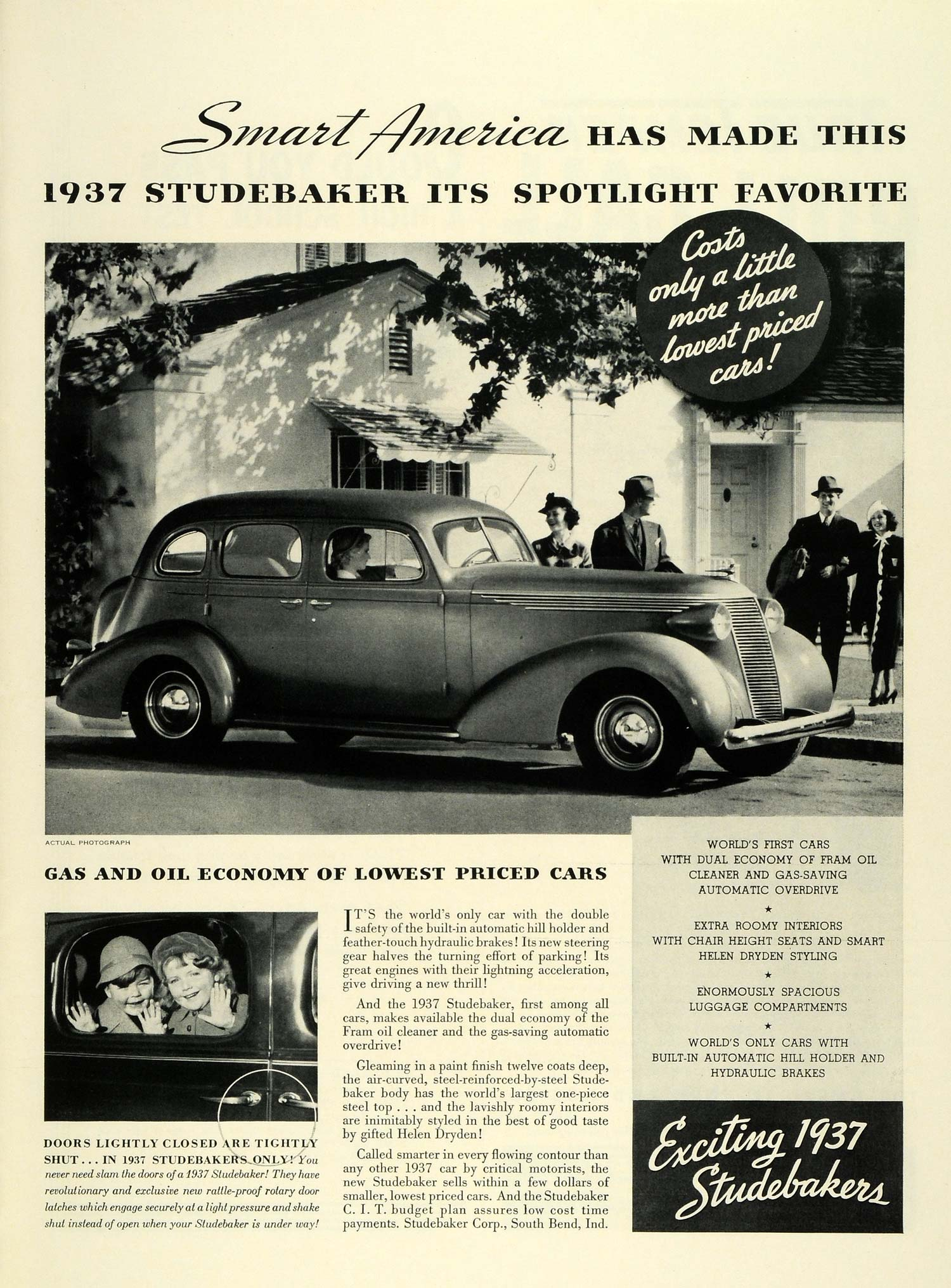 1937 Ad Studebaker Car Automobile Family South Bend Indiana Motor Children LF5