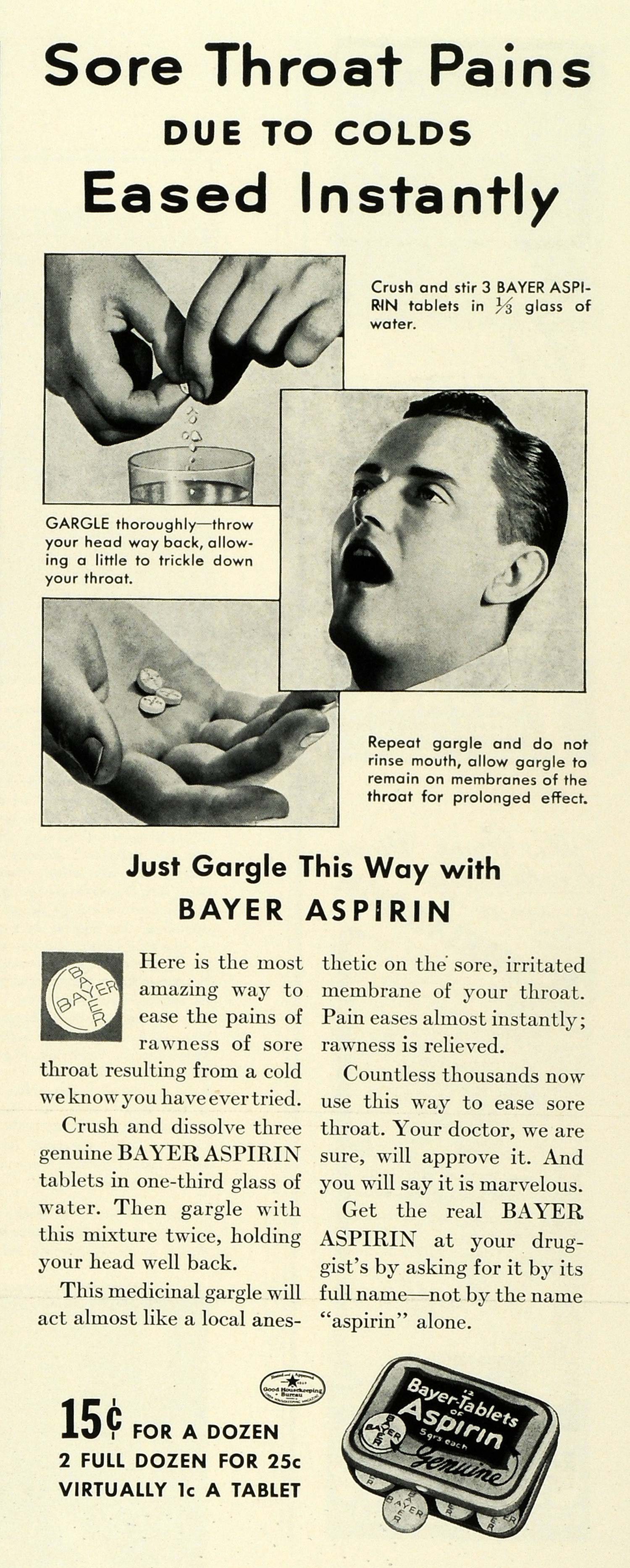 1937 Ad Bayer Aspirin Health Medicine Tablet Pricing Drug Water Mouth Pain LF5