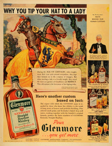 1939 Ad Glenmore Kentucky Bourbon Whiskey Medieval Knight Cavalry Chivalry LF5