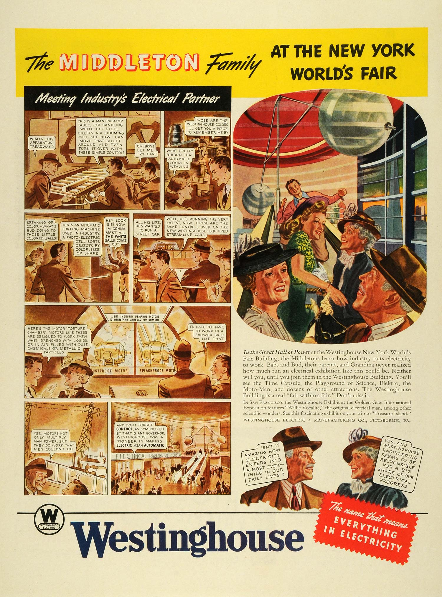 1939 Ad New York World Fair Middleton Family Westinghouse Electricity LF5