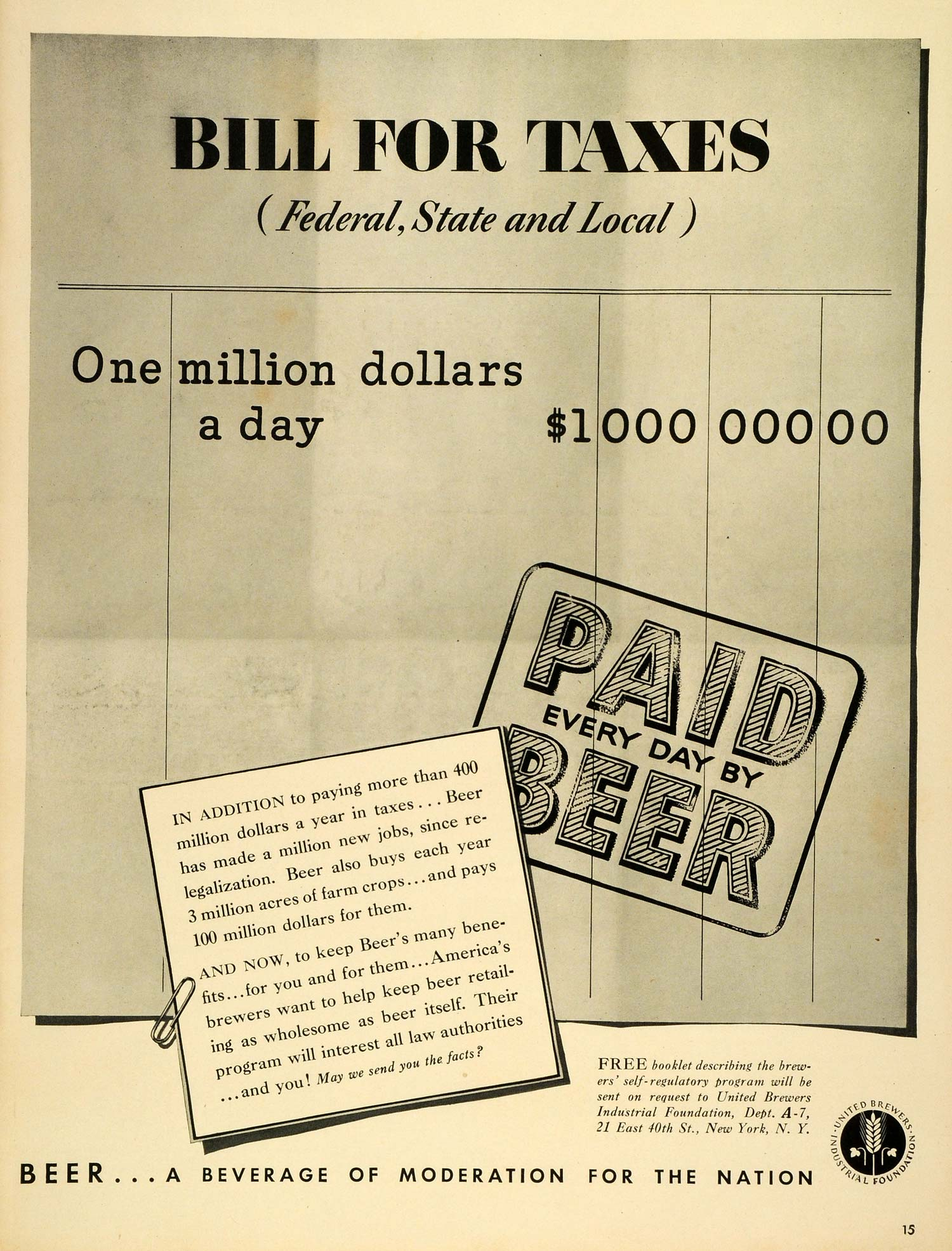 1939 Ad United Brewers Industrial Foundation New York Beer Taxes One Million LF5