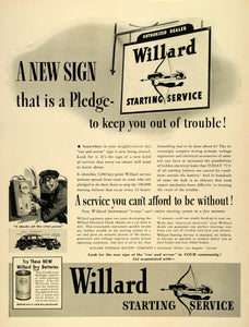 1939 Ad Willard Storage Battery Co Dry Batteries Electrical Check Car LF5