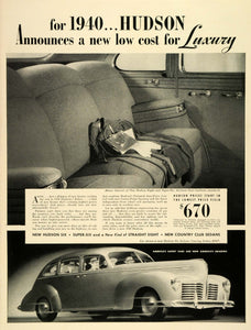 1939 Ad Hudson Motor Car Co Six DeLuxe Touring Sedan Seats Vintage LF5