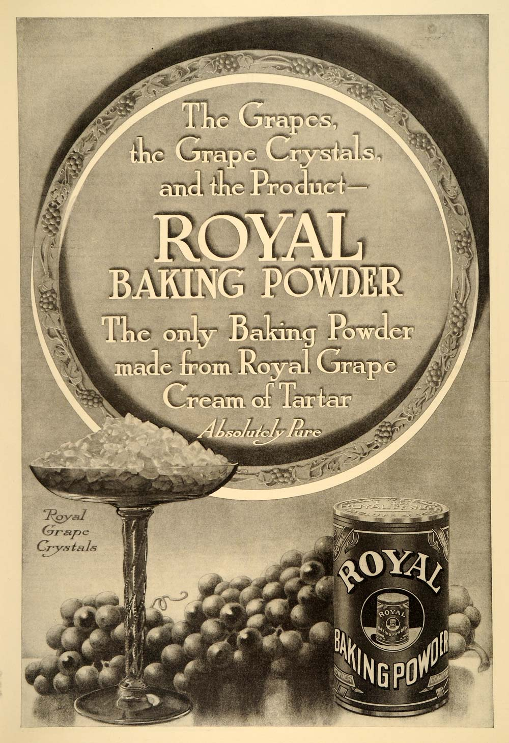 1909 Ad Royal Baking Powder Grape Crystals Hoagland - ORIGINAL ADVERTISING  LHJ1