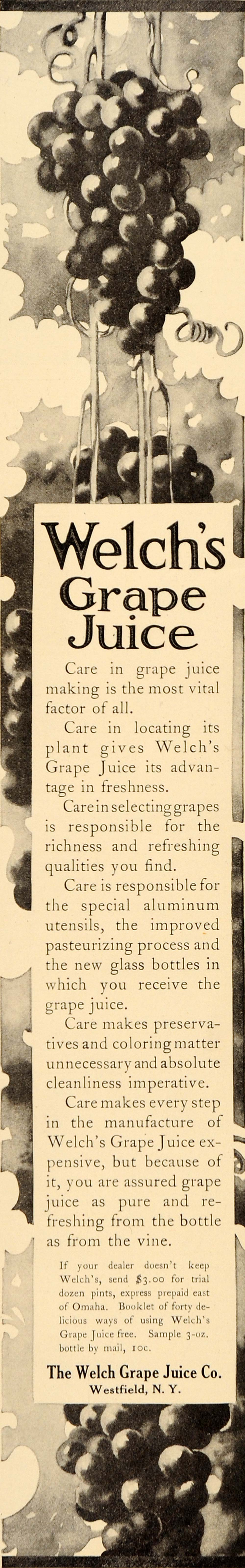 1909 Ad Welch's Grape Juice Concord Westfield New York - ORIGINAL LHJ1