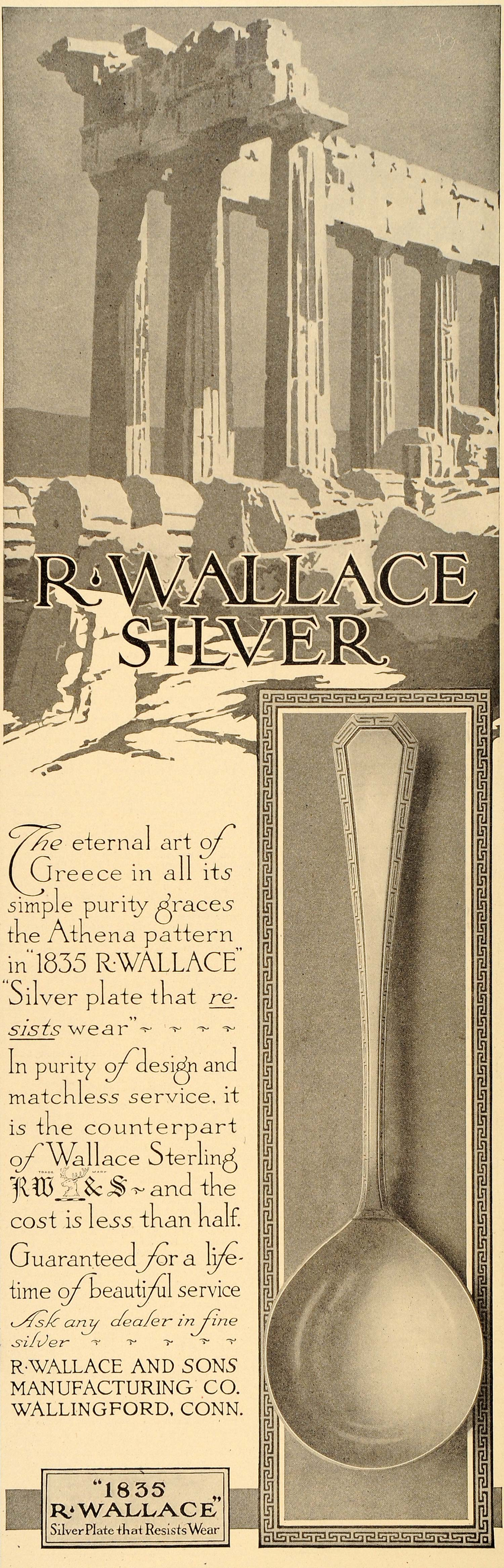 1914 Ad Wallace Silver Sterling Spoons Greece Athena - ORIGINAL ADVERTISING LHJ1