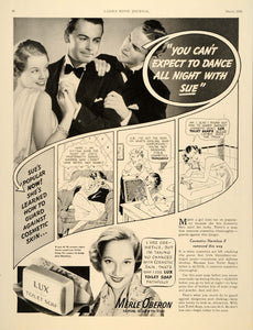 1936 Ad Lux Toilet Soap Face Cleanser Sue Merle Oberon - ORIGINAL LHJ2