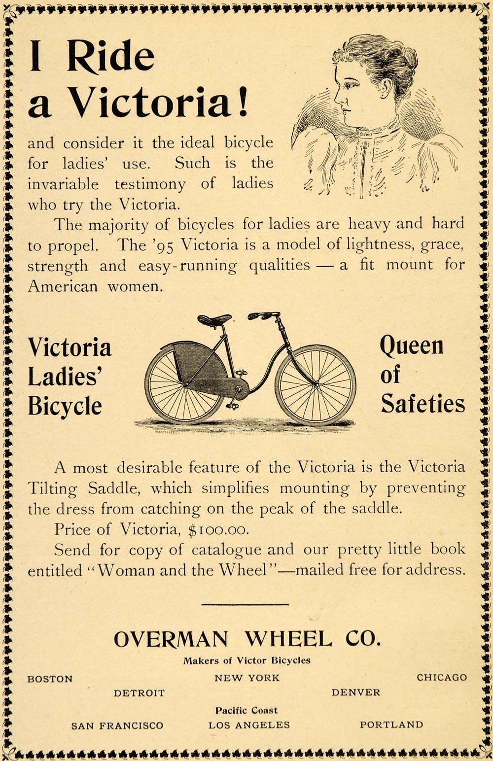 1895 Ad Victoria Ladies Bicycle Antique Overman Wheel - ORIGINAL LHJ3