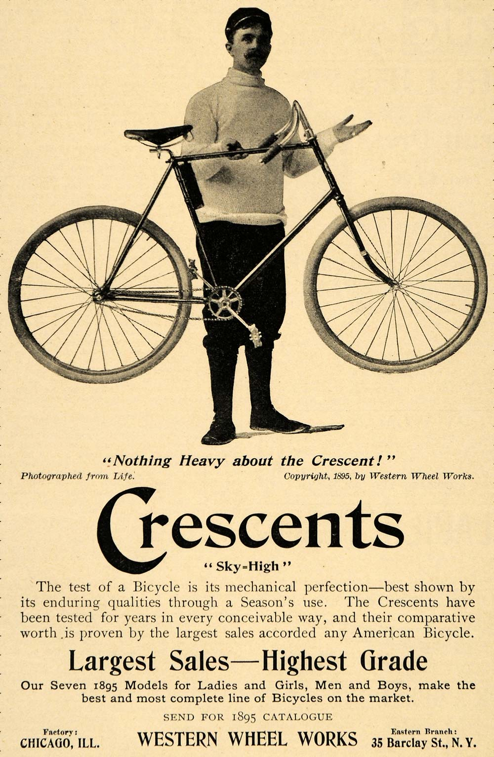 1895 Ad Western Wheel Works Crescent Sky High Bicycle - ORIGINAL LHJ4