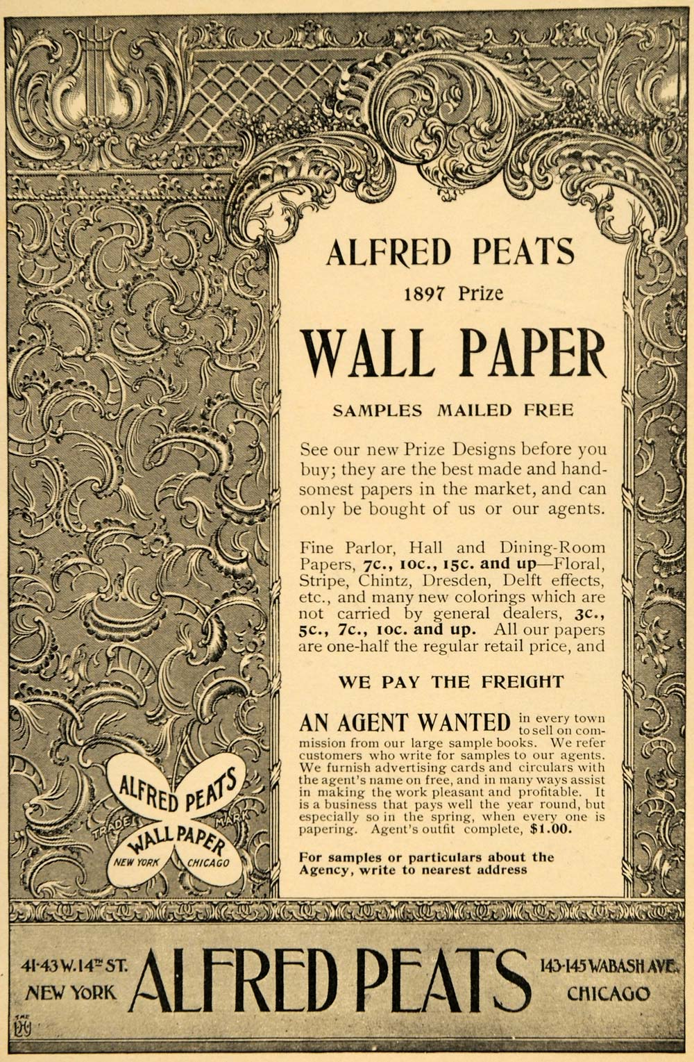1897 Ad Wall Paper Alfred Peats Designs Chintz Pricing - ORIGINAL LHJ4