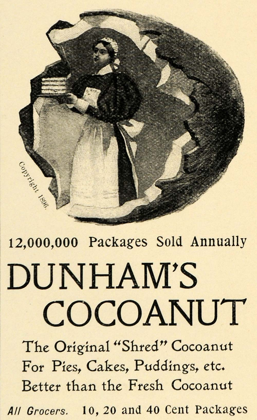 1897 Ad Dunham's Shred Cocoanut Baking Pie Cake Pudding - ORIGINAL LHJ4