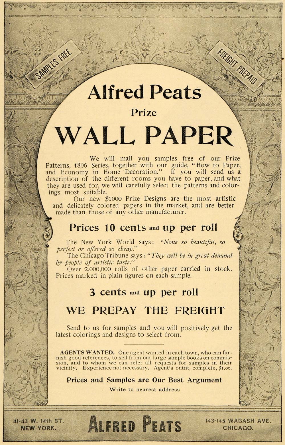 1896 Ad Alfred Peats Prize Wall Paper Wabash Avenue - ORIGINAL ADVERTISING LHJ4