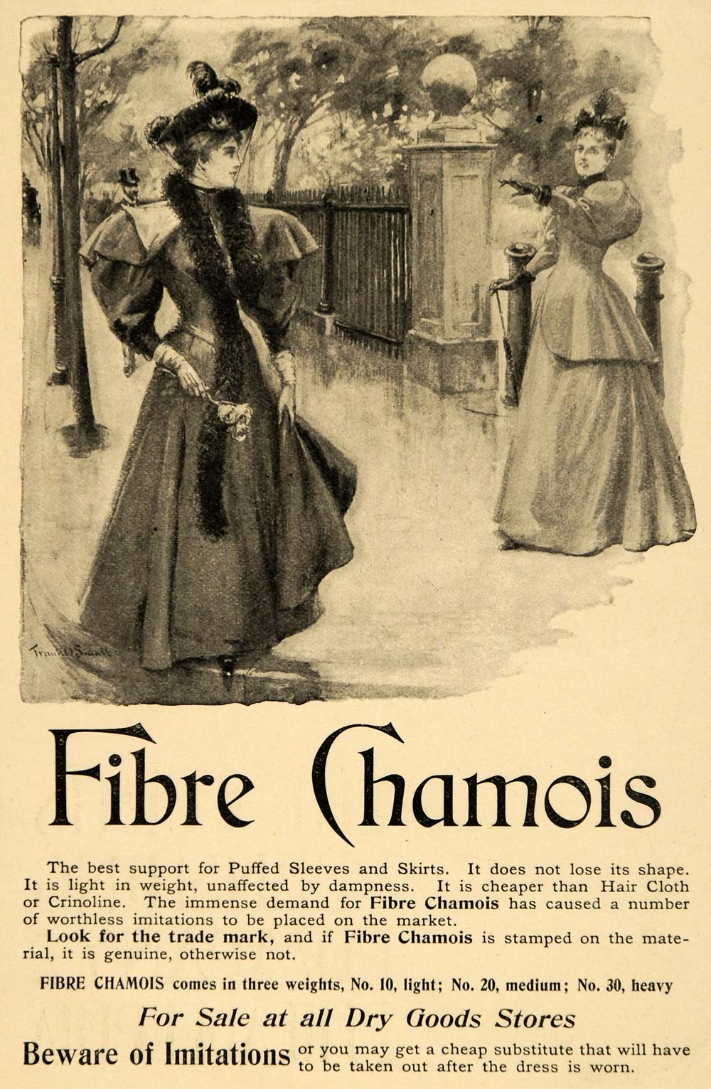 1895 Ad Fibre Chamois Puffed Sleeves Skirts Fabrics - ORIGINAL ADVERTISING LHJ4