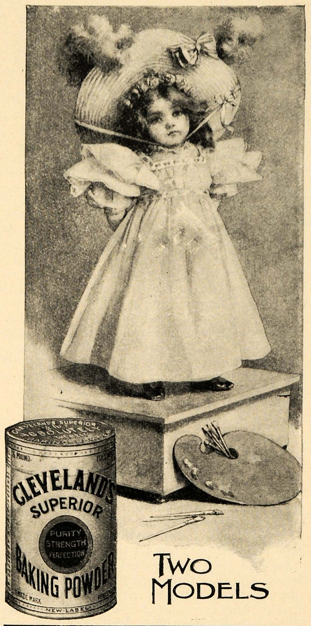1897 Ad Cleveland's Baking Powder Girl & Paint Pallet - ORIGINAL LHJ4
