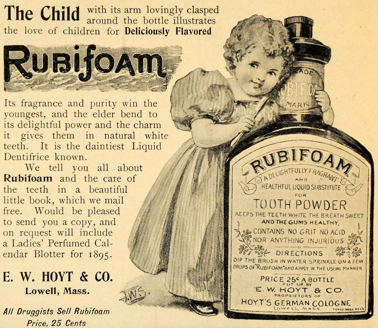 1895 Ad E. W. Hoyt Rubifoam Tooth Powder Dental Lowell - ORIGINAL LHJ4