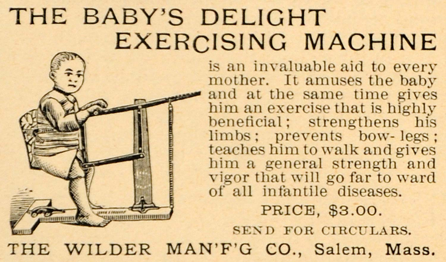 1892 Ad Wilder Manufacturing Co. Baby Exercise Machine - ORIGINAL LHJ4