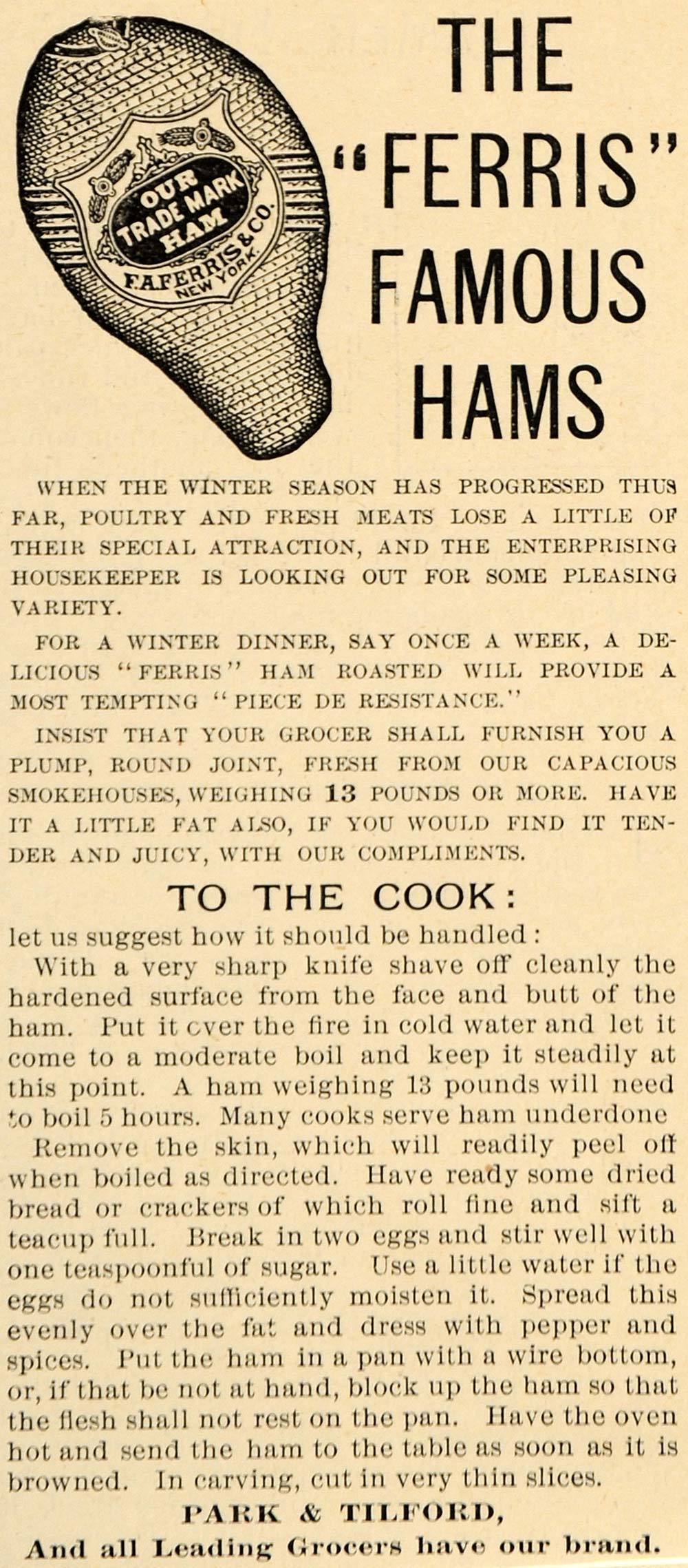 1892 Ad Park & Tilford Ferris Famous Hams Meat Food - ORIGINAL ADVERTISING LHJ4
