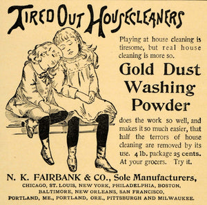 1892 Ad Gold Dust Washing Powder N. K. Fairbank Girls - ORIGINAL LHJ4