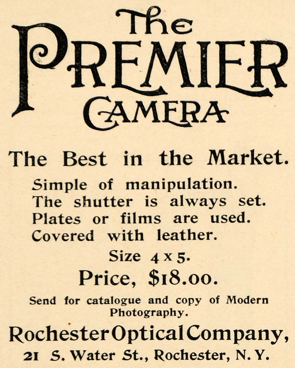 1892 Ad Rochester Optical Premier Camera Pricing NY - ORIGINAL ADVERTISING LHJ4