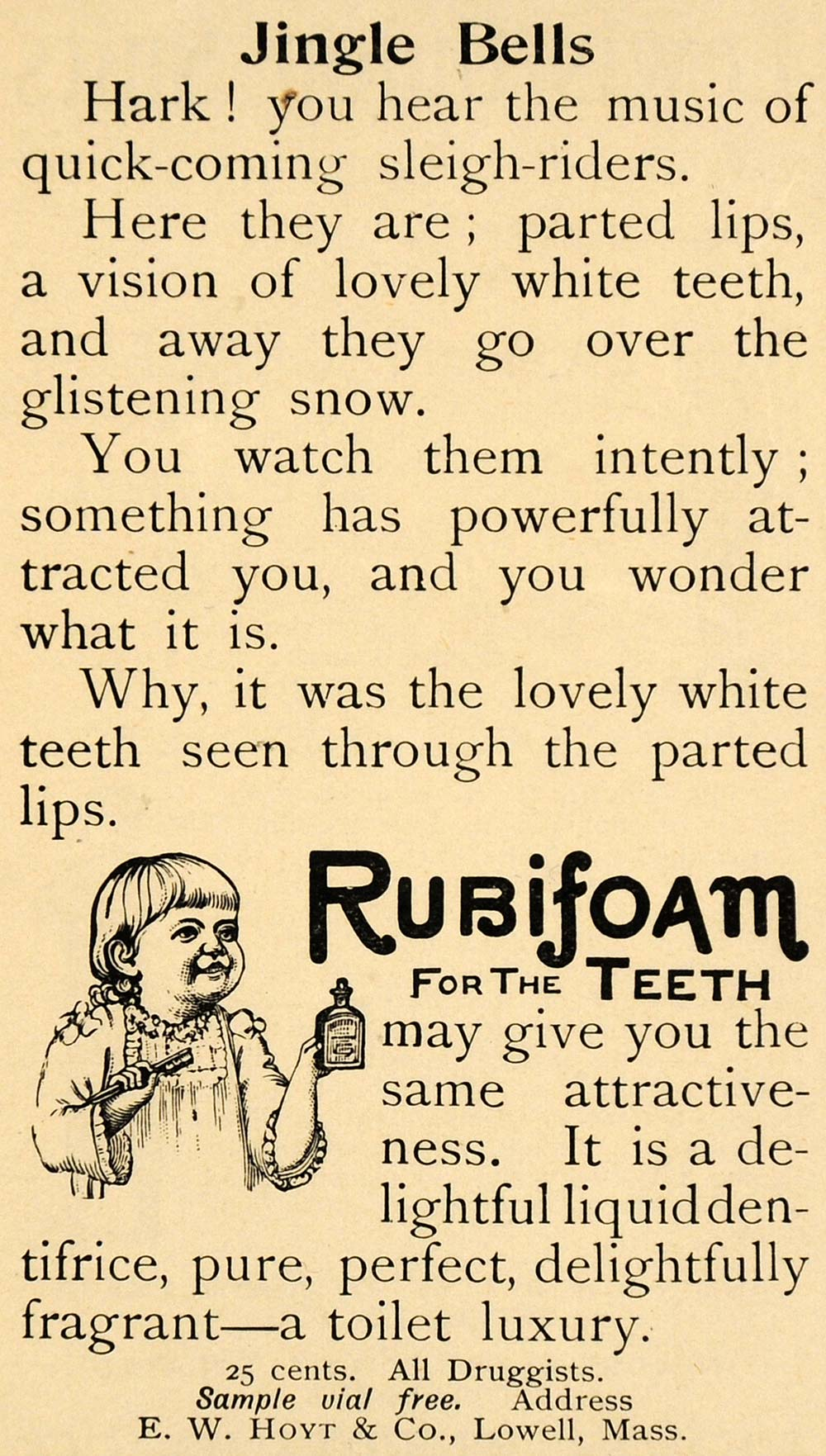 1893 Ad E W Hoyt Rubifoam Teeth Liquid Dentifrice Child - ORIGINAL LHJ4