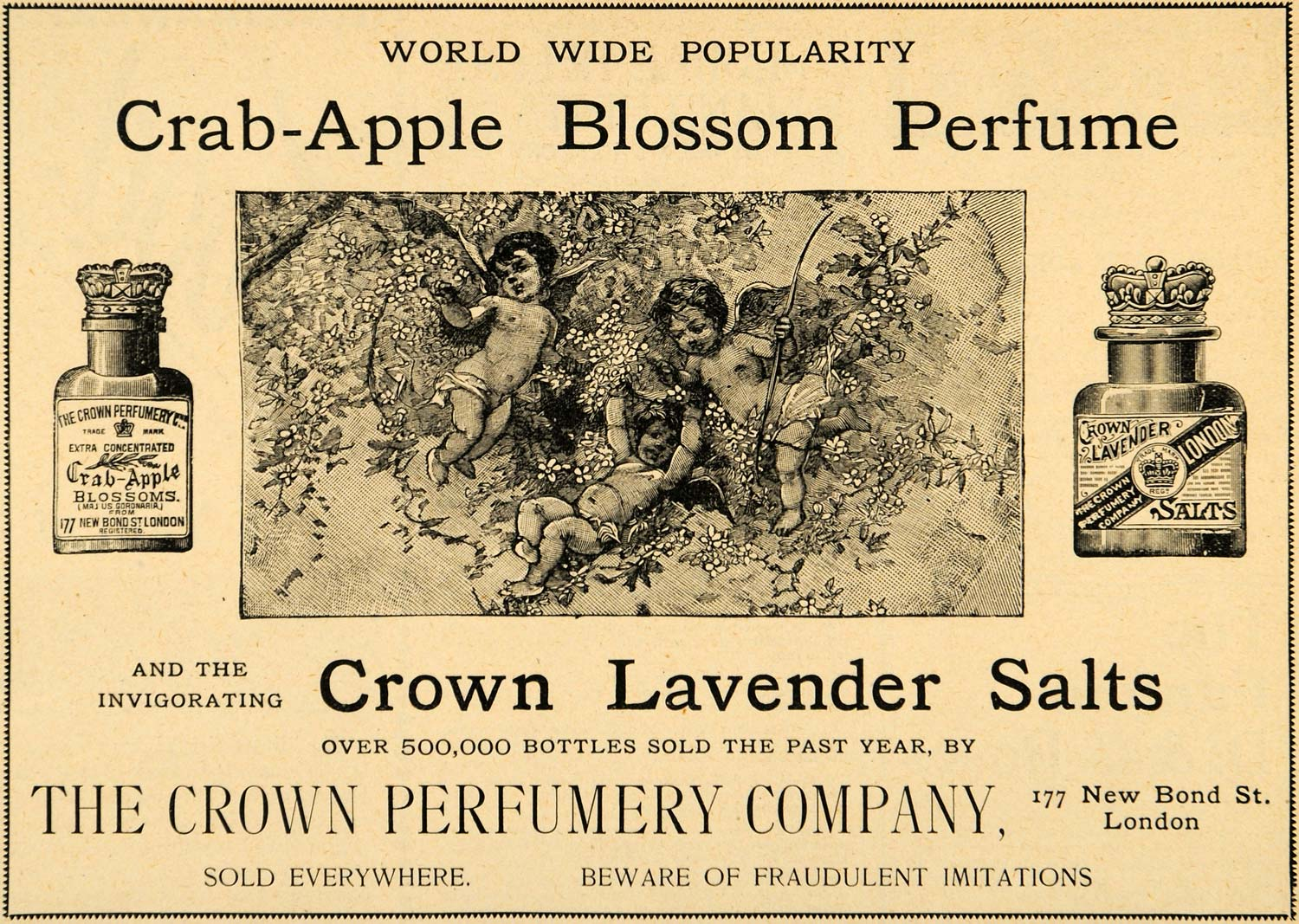 1893 Ad Crown Perfumery Co Lavender Salt Blossom Angels Cherub London LHJ4
