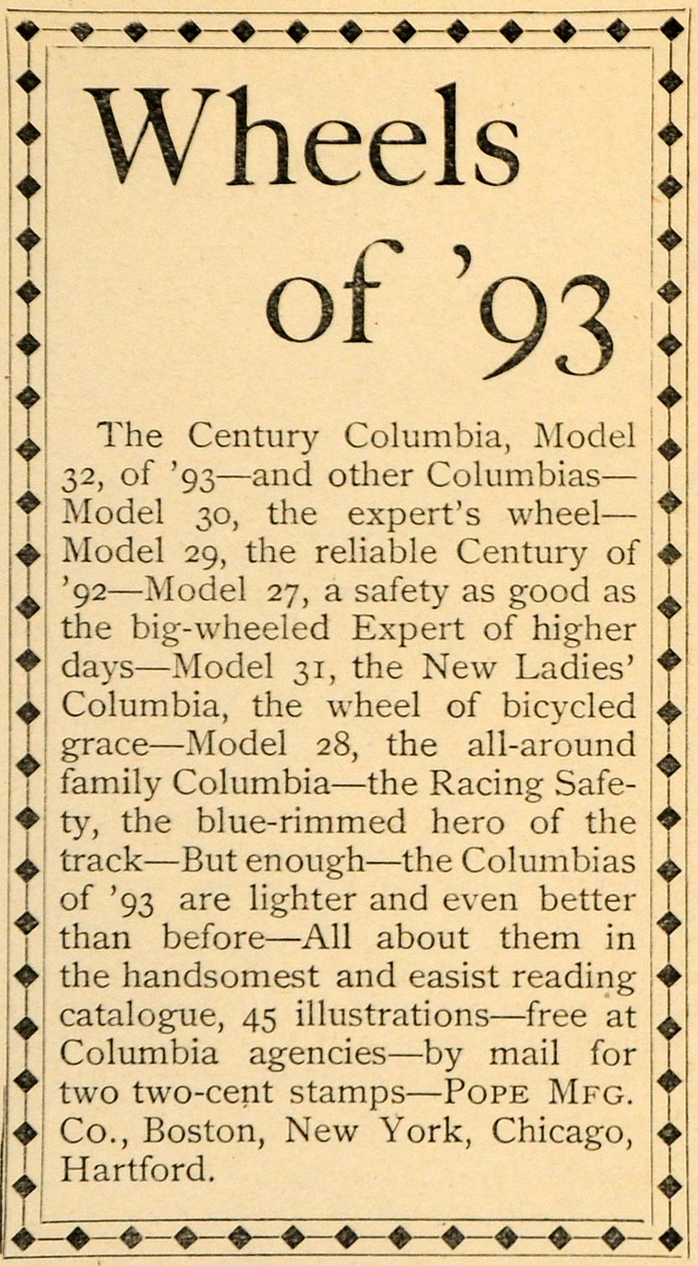 1893 Ad Pope Manufacturing Co. Columbia Bicycles NY Model Bike Albert LHJ4