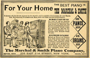 1891 Ad Marchal Smith Play Piano Organs Pricing Instruments Music 235 East LHJ4
