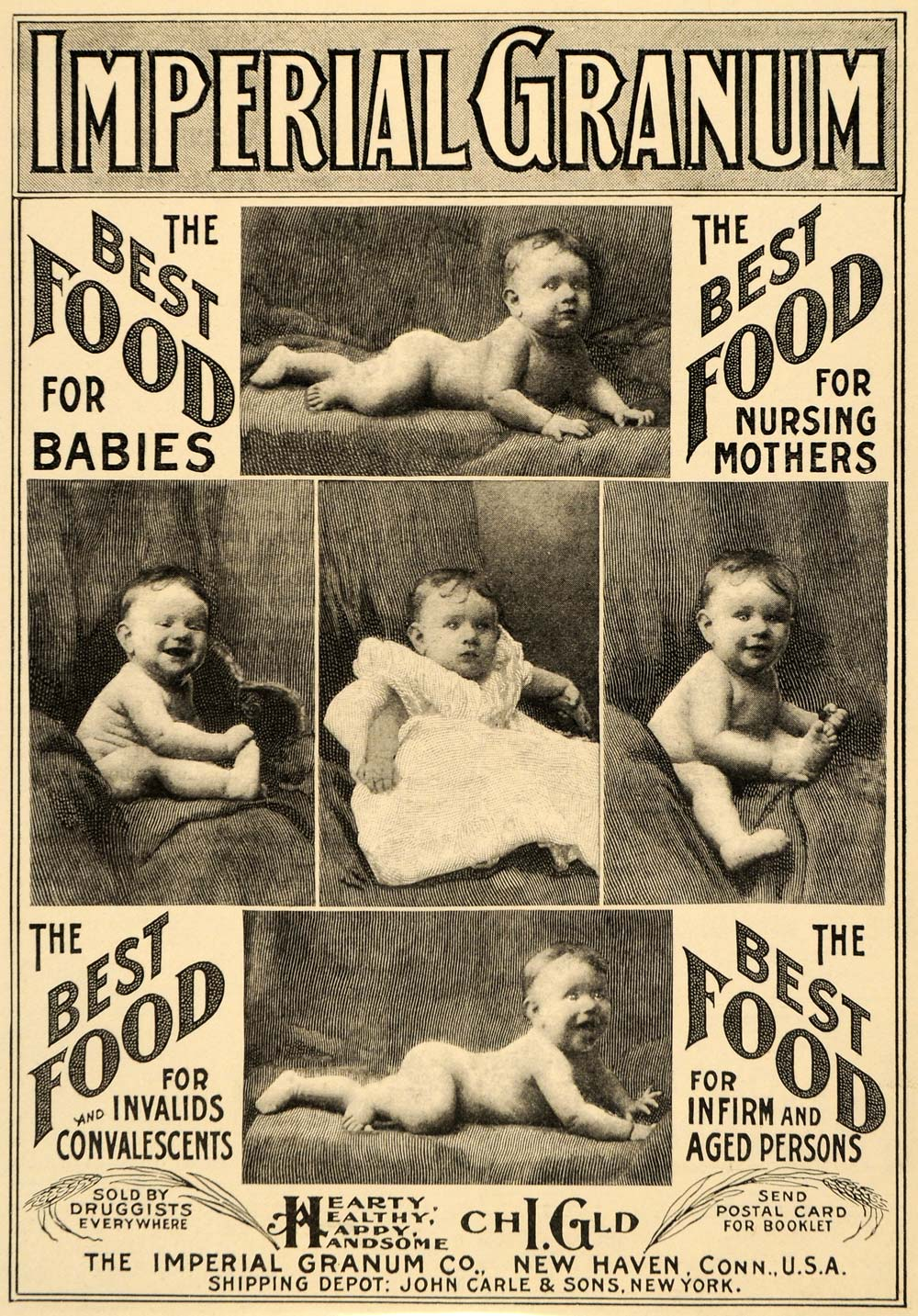 1900 Ad Imperial Granum John Carle Baby Food Infants Portraits Health LHJ4