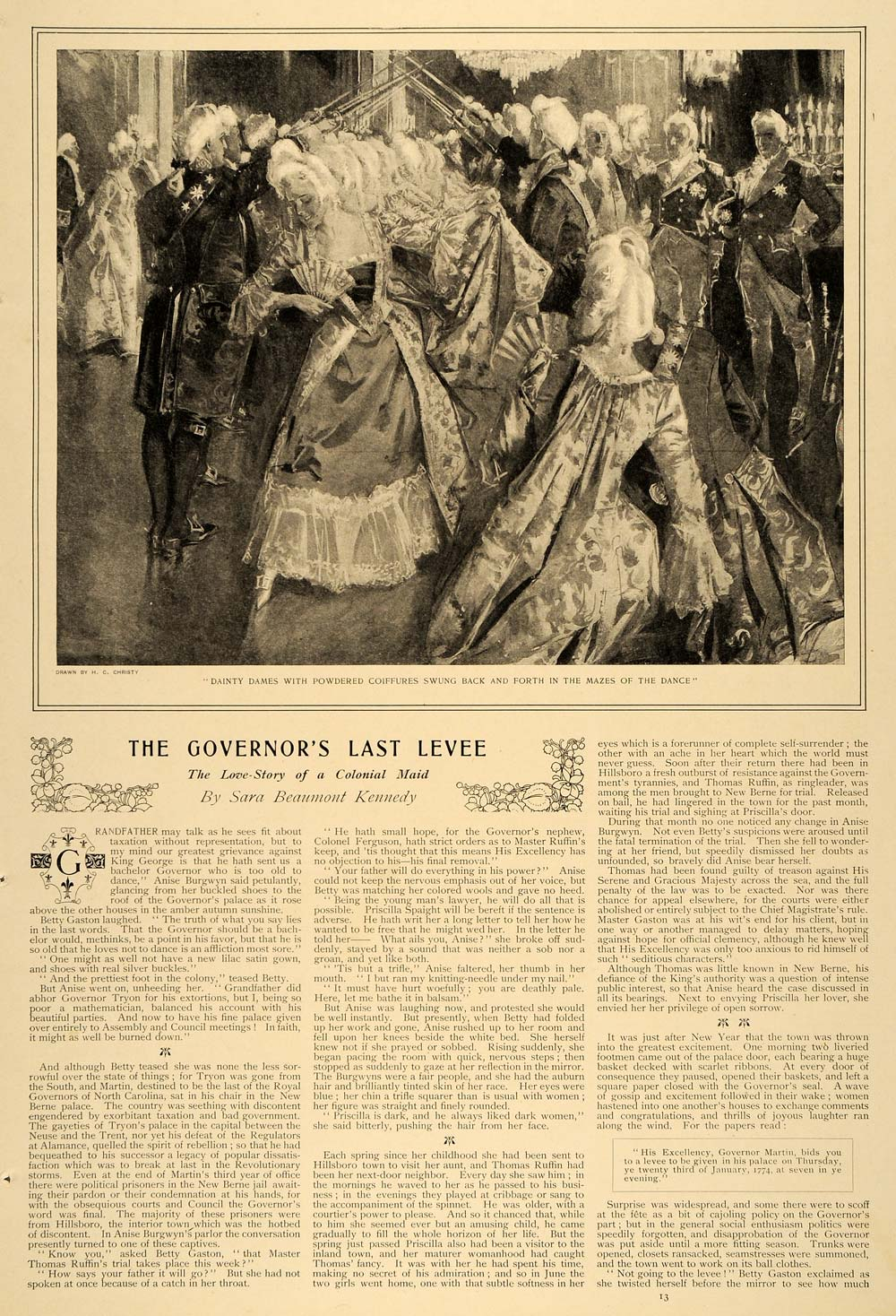 1899 Article Governor Last Levee Sara Beaumont Kennedy Colonial Love Martin LHJ5