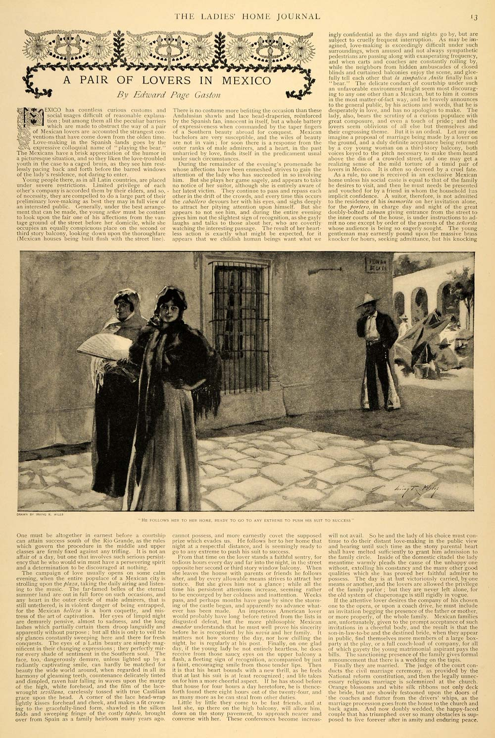 1897 Article Lovers in Mexico Edward Page Gaston Wiles - ORIGINAL LHJ5