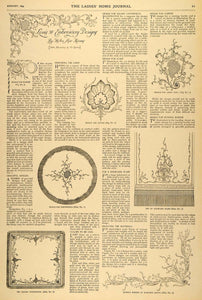 1895 Article Louis XV Embroidery Designs Helen Adams Decoration Doily Lace LHJ5
