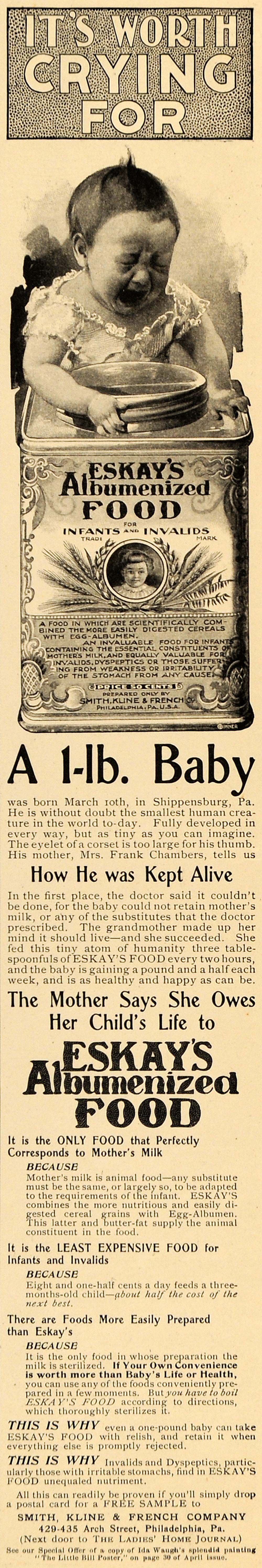 1898 Ad Eskay Albumenized Food Smallest Baby Child Life Formula Chambers LHJ6
