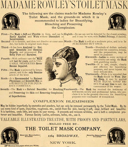 1889 Ad Toilet Mask Co Madame Rowley Toilet Mask Beauty Cosmetic 1164 LHJ6