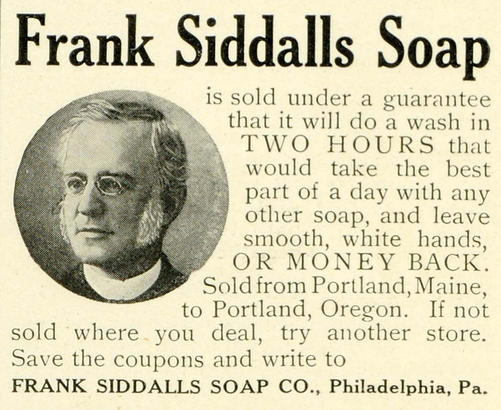 1906 Ad Frank Siddalls Hand Washing Soap Philadelphia Man Spectacles LHJ6 - Period Paper