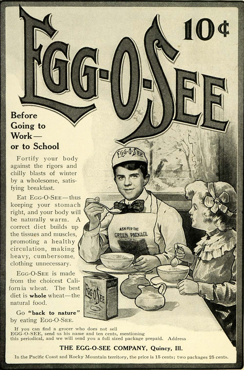 1905 Ad Egg-O-See Wheat Cereal Breakfast Food Boy Apron Girl Eat Table LHJ6