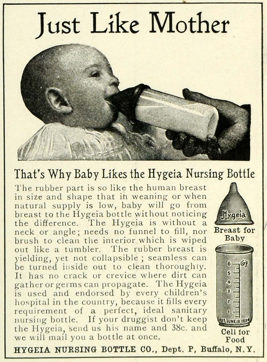 1905 Ad Hygeia Baby Nursing Bottles Feeding Milk Infant Mother Nipple –  Period Paper