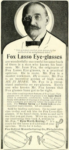 1905 Ad Ivan Fox Optical Lasso Eyeglasses Spectacles Vision Sight Mustache LHJ6