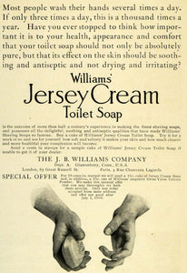 1906 Ad J. B. Williams Jersey Cream Washing Soap Hands Antiseptic London LHJ6