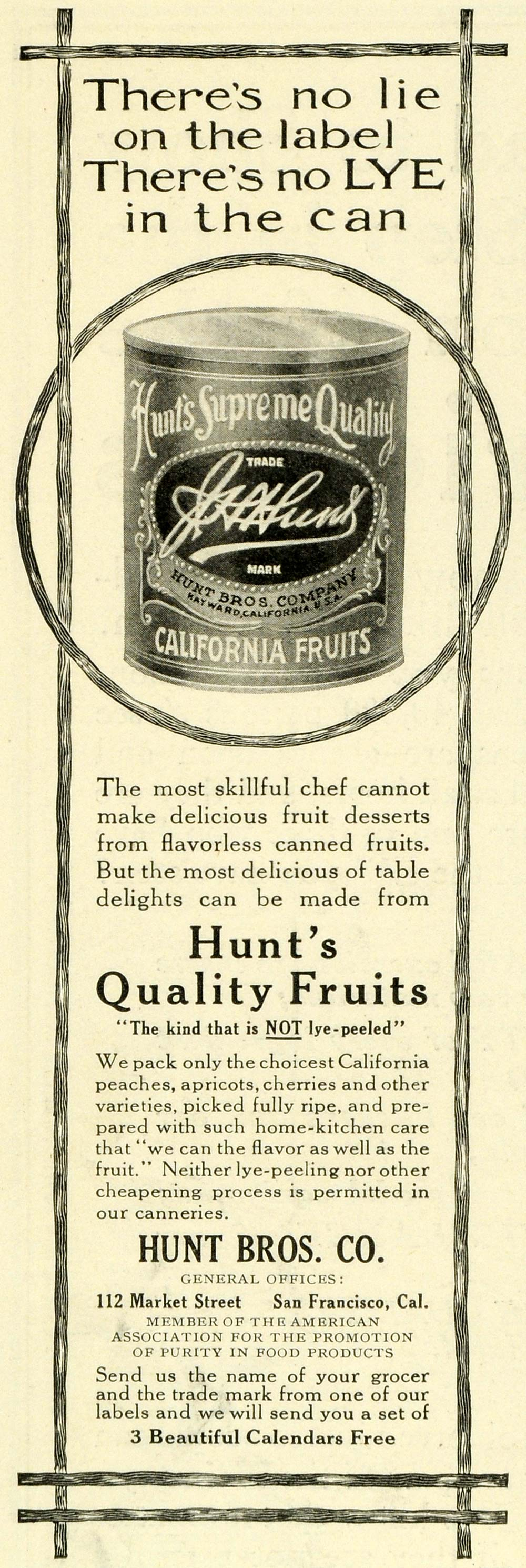 1911 Ad Hunt's Canned Fruits Desserts Peaches Cherries Apricots San LHJ6