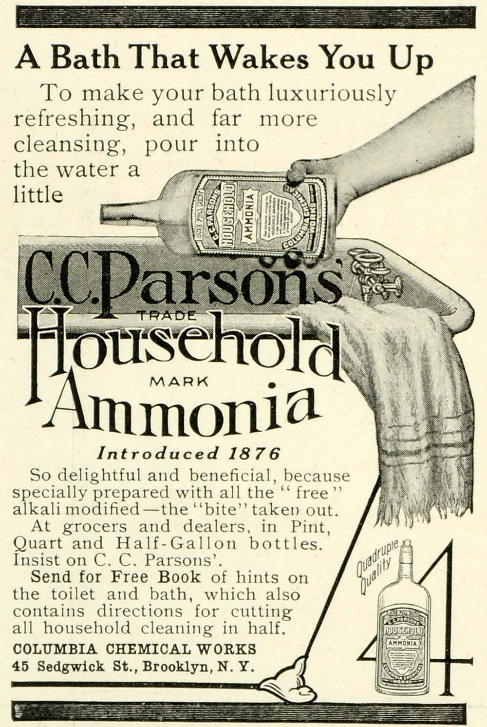 1909 Ad Columbia Chemicals C  C  Paron's Ammonia Cleaner Rag Cleanser Bath  LHJ6