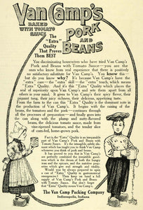 1907 Ad Van Camp's Baked Pork Beans Canned Food Dutch Boy Girl Clogs Sifter LHJ6