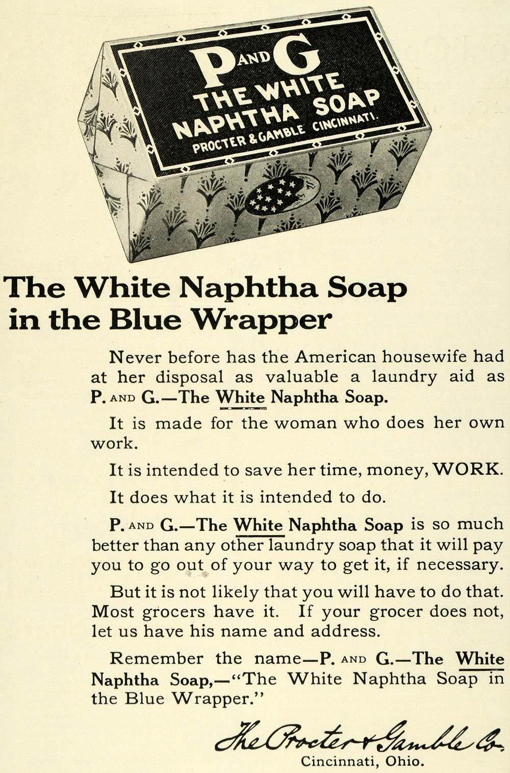 1911 Ad Procter Gamble Naphtha White Laundry Clothes Soap Blue Wrapper LHJ6