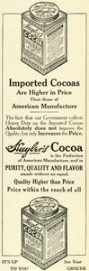 1911 Ad Huyler's Cocoa Chocolate Bean Powder Mix Drinks Desserts Tin Can LHJ6