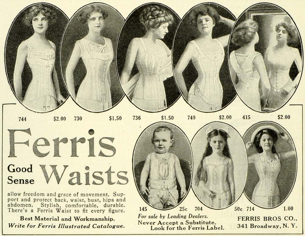 1911 Ad Ferris Good Sense Waists Figure Corsets Baby Girl Woman Bust Curve LHJ6