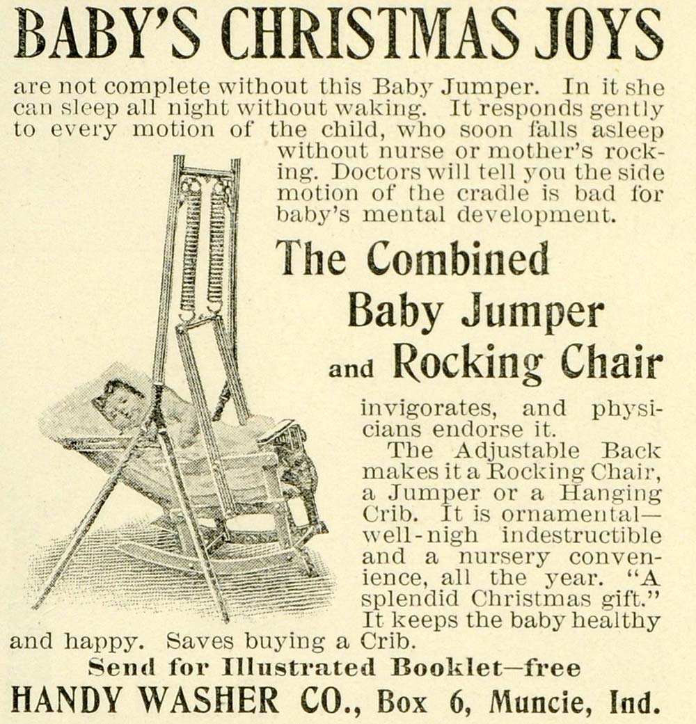 1897 Ad Handy Washer Baby Jumper Rocking Chair Seat Bouncer Combo Infant LHJ6